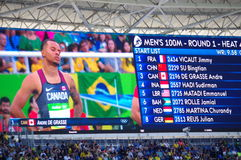 Rio2016 Olympics screen with Andre De Grasse Royalty Free Stock Images