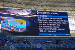 Rio2016 Olympics screen. With athletics competition schedule. Photo taken on Aug 13th, 2016 Stock Photos