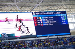 Rio2016 Olympics screen. With names of athletes for heat 4 of 100m sprint run. Photo taken on Aug 13th, 2016  2016-10-26 Royalty Free Stock Photography