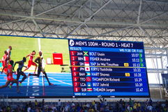 Rio2016 Olympics screen. With names of athletes for heat 7 of 100m sprint run. Photo taken on Aug 13th, 2016  2016-10-26 Royalty Free Stock Photography