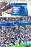 Rio2016 Olympics screen. With names of athletes for heat 4 of 100m sprint run. Photo taken on Aug 13th, 2016  2016-10-26 Stock Images