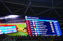 Rio2016 Olympics screen. With official results of decathlon. Photo taken on Aug 18th, 2016 Royalty Free Stock Photo