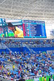 Rio2016 Olympics screen. With women's triple jump athletes names in qualifying round at Rio2016 Olympics. Photo taken on Aug 13th, 2016 Royalty Free Stock Image