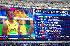 Rio2016 Olympics screen with Yohan Blake. Rio2016 Olympics screen with names of athletes for heat 6 of 100m sprint run with photo of Yohan Blake. Photo taken on Stock Image