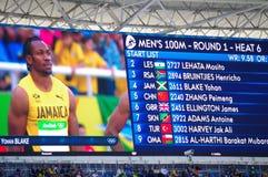 Rio2016 Olympics screen with Yohan Blake Stock Image