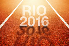 Rio Olympics 2016 title on athletic sport running track. Conceptual image for event taking place in Brazil Stock Images