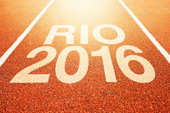 Rio Olympics 2016 title on athletic sport running track Stock Photos