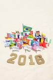 Rio 2016 olympische und internationale Flaggen Lizenzfreie Stockbilder