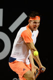 Rio Open 2017. Rio de Janeiro, Brazil - february 21, 2017: Dominic Thiem AUT in match against Janko Tipsarevic SRB during Rio Open 2017 held at the Jockey Club Royalty Free Stock Images