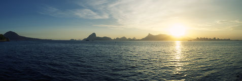 Rio Panorama with Sugarloaf Mountain Guanabara Bay Stock Photography