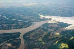 Rio Parana de las Palmas view from aerial Royalty Free Stock Photo