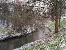 Rio pequeno no inverno com neve na grama Imagens de Stock Royalty Free