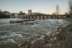Rio Pisuerga to his step along Valladolid Stock Images
