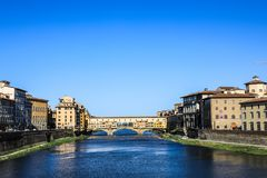 Rio Ponte Vecchio de Itália Florence Arno fotografia de stock royalty free