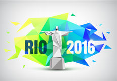 Rio 2016 poster, bannr with statue and faceted background. Brazil flag colors Stock Photo