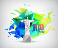 Rio 2016 poster, bannr with statue and faceted background. Brazil flag colors Stock Photography