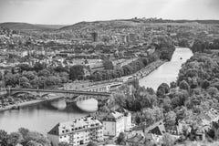 Rio principal, plantas, cidade velha em Wurzburg, Alemanha foto de stock royalty free