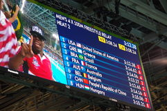 Rio2016 results of heat 2 men's 4X100 freestyle relay. Screen at Rio2016 Olympic Aquatics Stadium showing results of heat 2 for men's 4X100 freestyle relay Stock Images
