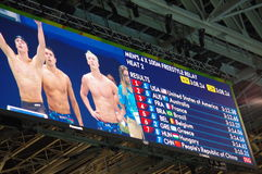 Rio2016 results of heat 2 men's 4X100 freestyle relay. Screen at Rio2016 Olympic Aquatics Stadium showing results of heat 2 for men's 4X100 freestyle relay Stock Photos