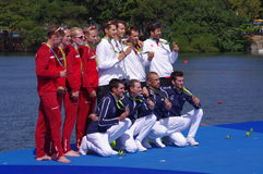 Rio 2016 rowing lightweight coxless four winners Royalty Free Stock Image