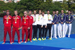 Rio 2016 rowing lightweight coxless four winners Royalty Free Stock Images