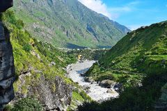 Rio Sarasvati, Mana Village, Uttarakhand, Índia Fotografia de Stock