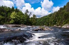Rio selvagem e cênico de Chattooga, céus azuis, nuvens brancas imagens de stock royalty free