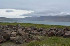 Rio sem nome, correndo através dos campos de lava na área ocidental dos fiordes em Islândia Fotos de Stock