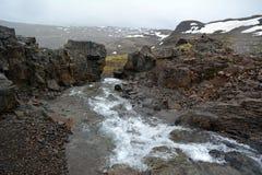 Rio sem nome, correndo através dos campos de lava no fiorde ocidental área em Islândia Fotografia de Stock