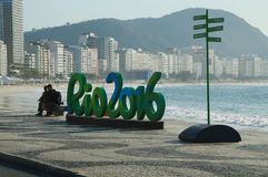 Rio 2016 sign at Copacabana Beach in Rio de Janeiro Royalty Free Stock Photography