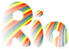Rio-3. Sign symbol Rio in colors of the Brazilian flag. Rio de Janeiro banner with abstract colorful backrop. Brazil Carnival. Vector illustration stock illustration