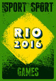 Rio 2016 sport games typographic vintage grunge style poster. Retro vector illustration. Royalty Free Stock Photo
