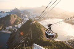 Rio from Sugar Loaf. View of Rio de Janeiro city from the peak of the sugar loaf with the cable car in first plan Royalty Free Stock Photography