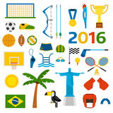 Rio summer olympic games icons vector illustration. Rio summer olympic games icons isolated on white background. Rio summer olympic games icons vector icons Stock Illustration