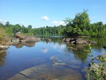 Rio surinamês com corredeira Foto de Stock