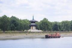 Rio Tamisa Londres do pagoda da paz de Chelsea Foto de Stock