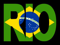 Rio text with Brazilian flag Stock Images