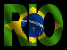 Rio text with Brazilian flag Stock Photography