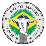 Rio theme stamp with statue of the Christ the Redeemer illustration Royalty Free Stock Photos