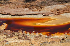 Rio Tinto 2. Riverbed of the Rio Tinto (Spain) with the different colors of the water for the oxide and the algae Royalty Free Stock Photos