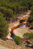 Rio Tinto 3. Sight of the riverbed of the Rio Tinto (Spain) from the tour of the mining train Royalty Free Stock Photo