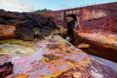 Rio Tinto flod i Spanien Arkivbilder