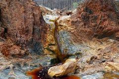 Rio Tinto gekleurde rivier dichtbij Nerva in Spanje royalty-vrije stock afbeeldingen