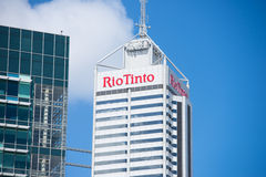 Rio Tinto Headquarter Perth Western Australia. Perth, Western Australia - February 21, 2017: Office building of Rio Tinto, one of the biggest mining companies in Royalty Free Stock Photo
