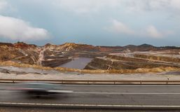 Rio Tinto mine and car trail Stock Photos