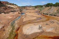 Rio Tinto-rivier dichtbij Nerva in Spanje royalty-vrije stock foto's
