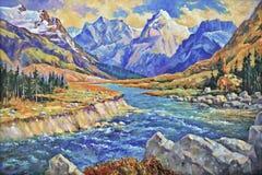 Rio tormentoso durante o ponto alto da mola no desfiladeiro das montanhas de Cáucaso ilustração royalty free