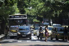 Rio Traffic at an Intersection in Ipanema royalty free stock photo