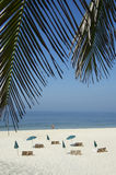 Rio Tropical Beach With Chairs And Umbrellas Royalty Free Stock Photo