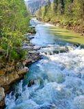 Rio turbulento da montanha na mola Imagens de Stock